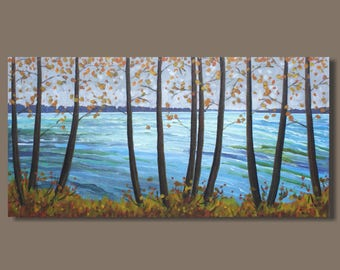 Fall Collection 2017-landscape painting, ocean painting, panoramic painting, impressionist painting, trees, cottage art, autumn, fall colors
