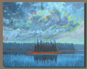 FREE SHIP abstract painting, landscape painting, stormy weather, island, nova scotia, water, ocean painting, slate blue grey, storm, oblong