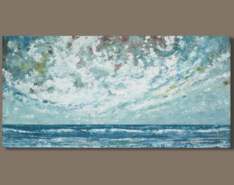 FREE SHIP abstract painting, seascape painting, panoramic seascape, blue, horizontal wall art, clouds, cloudscape, ocean landscape, seaside