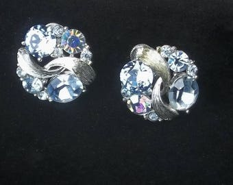 Signed Lisner Vintage 1950's Sky Blue & Aurora Borealis Rhinestone Hollywood Glamour Costume Jewelry Earrings Gift For Her