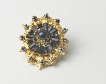 Vintage Pendant Stanley Hagler N.Y.C. Black Baguette Rhinestones Glass Beads Gold Plate Costume Jewelry Bolo Slide Gift For Her on Etsy