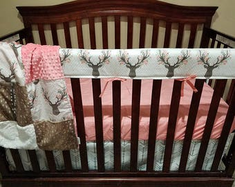Buck Deer Baby Crib Rail Guard Cover - Fawn, Stag, Flowers