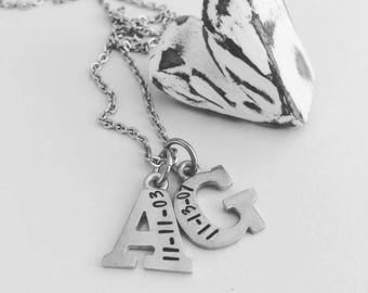 Personalized Initial Necklace - Mom Necklace - Hand Stamped Mom Jewelry - Personalized Jewelry - Birth Date Necklace - Custom Jewelry