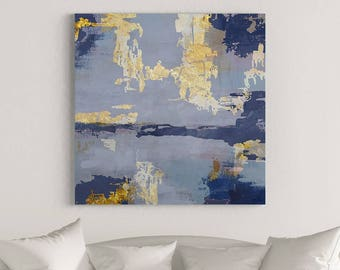 Blue Gold Painting, Contemporary Art Painting, Large Canvas Art, Blue Abstract Art, Contemporary Art Print, Large Abstract Painting