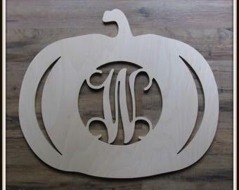 "Pumpkin Fall Halloween Door Hanger with Letter - Unpainted Wood - 22"" size - Entryway - Family - Wooden Letter - Wall Hanging - Monogram"