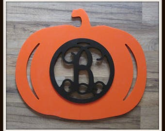 """Pumpkin Fall Thanksgiving Door Hanger with Letter - Painted Wood - 22"""" size - Entryway - Family - Wooden Letter - Wall Hanging - Monogram"""