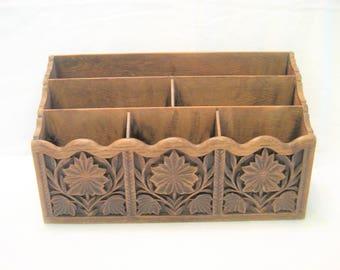Lerner Faux Wood Plastic Desk Organizer Vintage 1970s Retro Office Storage, Mail Caddy, Carved Plastic