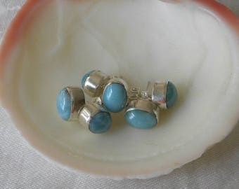 Larimar Earrings Handmade Dominican Blue Larimar Gemstone Earrings 8x10mm Oval Stud Earrings Sterling Silver Earrings Blue Larimar Jewelry