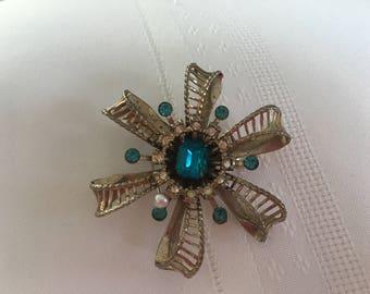 Vintage Blue Rhinestone Starburst Flower Brooch
