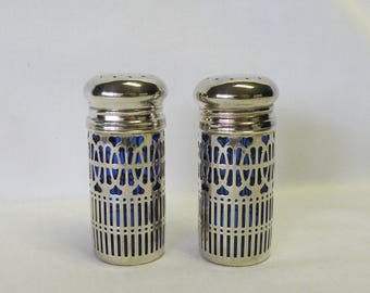 Silverplate Salt and Pepper Shakers with Cobalt Blue Glass - Wedding Decor, Elegant Holiday Entertaining, Shabby or Cottage Chic