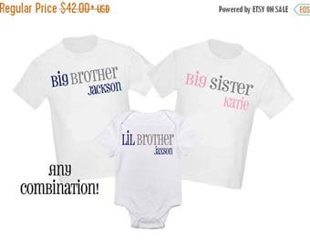 ON SALE 3 Pc Big Sister and Little Sister Big Brother Little Brother Set Sibling Shirt Set Personalized T Shirt - Any combination!