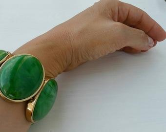 Armband 80's designer gold grün vintage goddess art and crafts recycling-fashion Bohéme Hippie