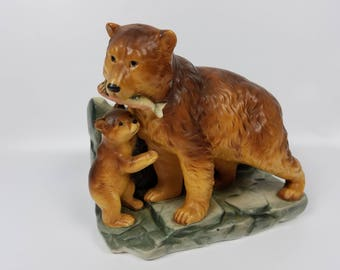 Vintage Inarco Grizzly Bear & Cub Planter~Salmon Fishing