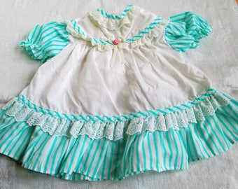 Vintage Adorable Baby Dress White with Green Blue Stripes And Eyelet Lace Size 6-9 mos Vintage Baby Or Doll Clothes