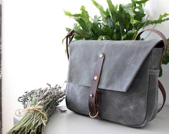 Mills Messenger Bag in Cement, Waxed Canvas Messenger Bag, Cross body Purse