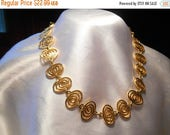 50% OFF SALE Modernist Gold Tone Swirl Choker Necklace