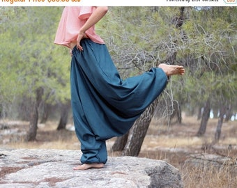 ON SALE Women's Harem pants with pockets, Aquamarine Cotton wide-legged Trousers, Regular, Tall, Plus size, Custom Made