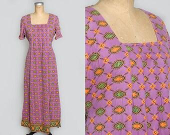 70s Tribal Dashiki Dress Purple Batik Full Length Hippie Maxi Dress