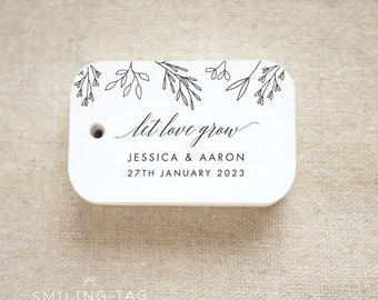 Let Love Grow Wedding Favor Tags - Personalized Gift Tags - Custom Wedding Favor Tags - Bridal Shower Tags - Set of 24 (Item code: J693)