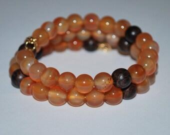 Agate Memory Wire Bracelet, Meditation Bracelet, Wood Bead Bracelet, Healing Stone Bracelet, Unisex Bracelet
