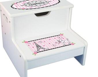 france paris white childrens step stool with storage rainbows my pony fantasy theme little hot - Childrens Step Stool