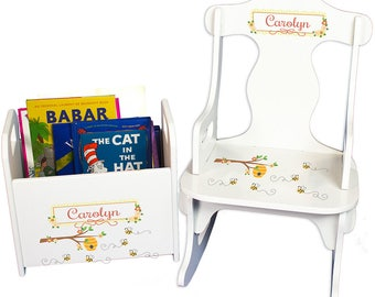 Personalized Puzzle Rocker and Book Caddy set with Honey Bees Design-rknrd-338