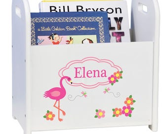 Personalized Book Caddy and Storage with Pink Flamingo Design-cadd-whi-342