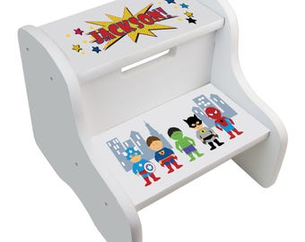 Boys step stool etsy kids personalized superhero step stool great for super hero boys room two steps white great negle Image collections