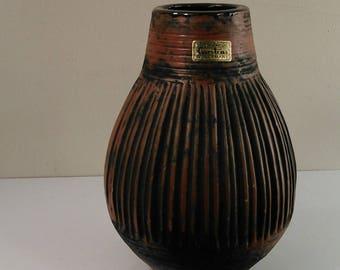 Dramatic Carsten's West German Pottery Vase, Burnt Orange and Black,  circa 1960s-70s