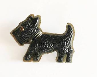 Scottie Dog Brooch - Black Scottish Terrier Brooch - Dog Jewelry