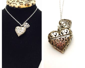 Art Deco Heart Pendant, Hinged, Vintage Sterling Silver, Stamped, Clearance Sale, Item No. S139