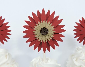 Flower Cupcake Toppers Set of 12 for Rustic Party Decor Sunflower Party Decor Garden Theme Party