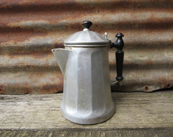 Antique Tea Pot Coffee Pot Kettle Wood Handle Aluminum Metal Coffee Pot Vintage 1900s Era Camping vCamp Survival tg Country Kitchen Retro
