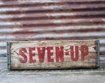 Vintage Wood Crate 7UP Seven Up Delivery Box White & Red Distressed Delivery Box Shabby Very Rustic AGED Distressed Industrial vtg Storage