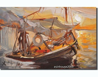 Original Sailboat Seaview Oil Painting Impressionist Style 12x18cm by x.thomas