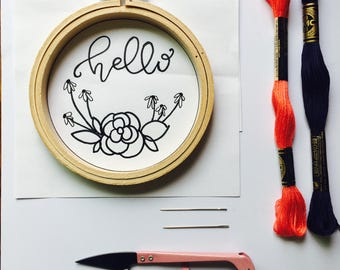Hello + Flowers Embroidery Kit DIY Modern Embroidery