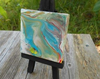 Mini Acrylic Pour Painting on Easel Desk Art- Original Art- Melted Clouds #157