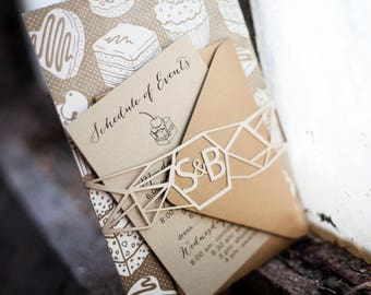 Geometric Laser Cut Belly Band with CustomMonogram for Wedding Invitations