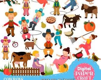 Farm Clipart, Children Clipart, Kids Clipart, Cowboy clipart, Outdoor clipart, Clipart,  Country clipart, Nature Clipart, Farm animals