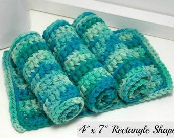 Turquoise Cotton Dishcloths, Reusable Dishcloths, Hand Crochet Dishcloths, Set of 4 American Cotton, Eco Friendly Kitchen Gifts, Dish Rags
