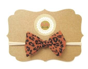 Leopard Bow, Clip Bows, Toddler Bows, Toddler Headband, Nylon Headbands, Baby Hairband, Toddler Girl, Baby Girl Headband, Ready To Ship