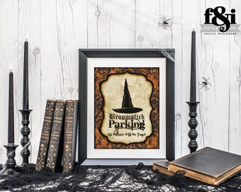 Halloween Sign | Broomstick Parking Sign | Halloween Party | Halloween Decorations | Halloween Decor | Printable Halloween | Frosting & Ink