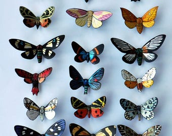 Moth Magnets Butterflies Set of 18 Multi Color InSects Refrigerator Magnets Kitchen Magnets Home Decor Kitchen Decor Gifts Butterfly Wedding