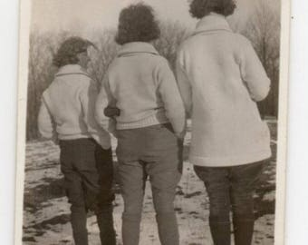 Three Women With Their Backs To The Camera Vintage Snapshot Black And White Photo Fashion Photograph Family Pictures