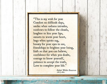Ralph Waldo Emerson Quote Print - My Wish For You - Inspirational Quote - Rustic Modern Wall Art - Graduation Gift - RWE Quote - Poetry Art