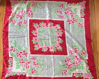 Vintage Silk Scarf Red Borders Floral Design