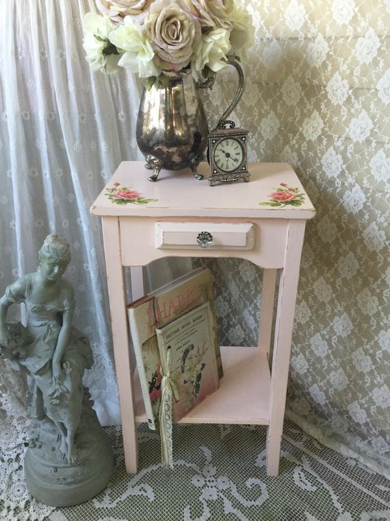 Pink Bedside Table: Shabby Pink Table End Table Night Stand Bedside Table