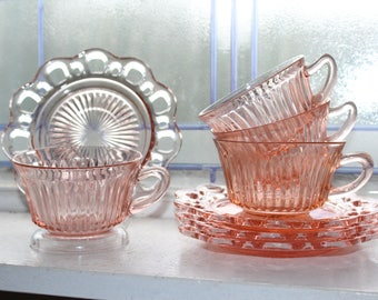 4 Pink Depression Glass Cups and Saucers Lace Edge Open Lace Vintage 1930s