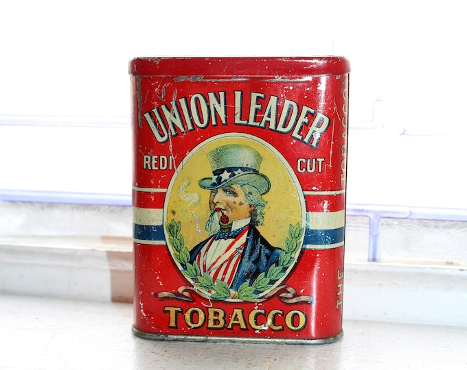 Antique Union Leader Tobacco Tin Uncle Sam Red White and Blue