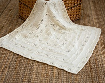 Luxury Knit Baby Blanket - Organic Wool/Alpaca - Baby Gift - Ready to Ship, UK Seller